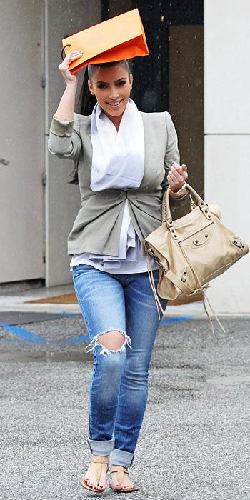 किम Kardashian 2011 Looks - fitted blazer, silk scarf, cropped jeans, and sandals