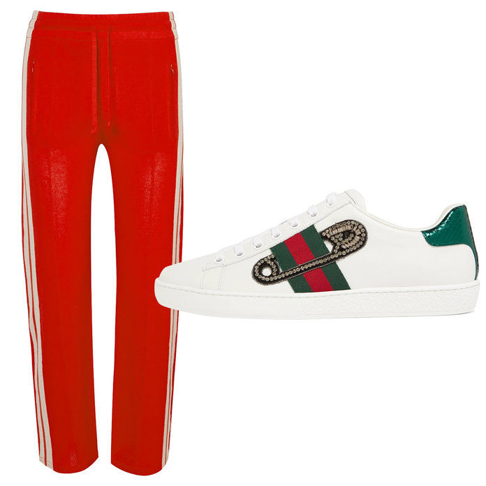 लाल Striped Jersey pants with embellished leather sneakers