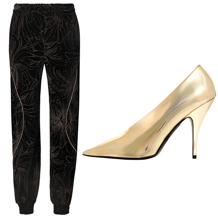 मुद्रित Velvet Pants with Metallic Faux Leather Pumps