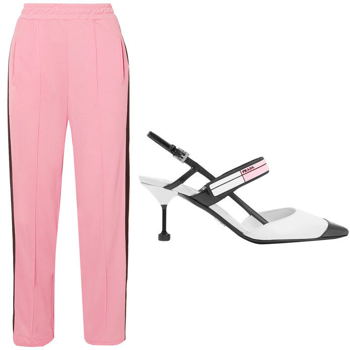 बबल गम pink striped pique pants with leather slingback pumps