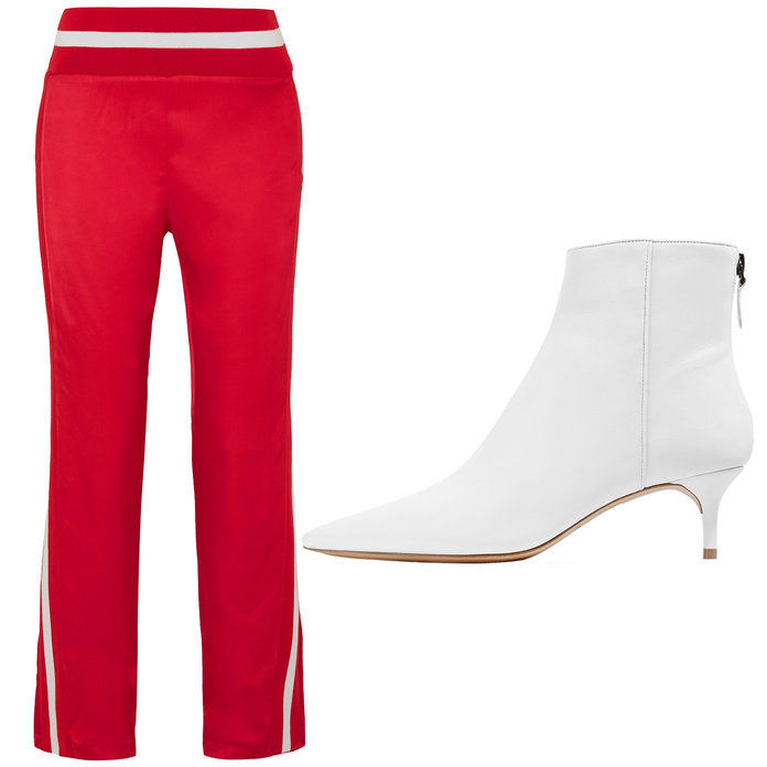 धारीदार Satin Track Pants with Kitten Heeled Ankle Boots