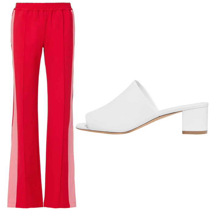 लाल and pink track pants with white leather mules