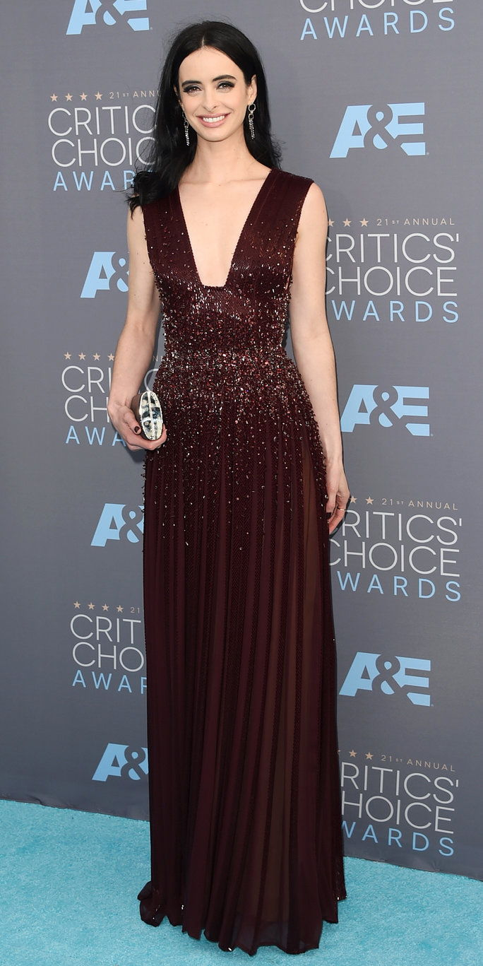 นักแสดงหญิง Krysten Ritter attends the 21st Annual Critics' Choice Awards at Barker Hangar on January 17, 2016 in Santa Monica, California.