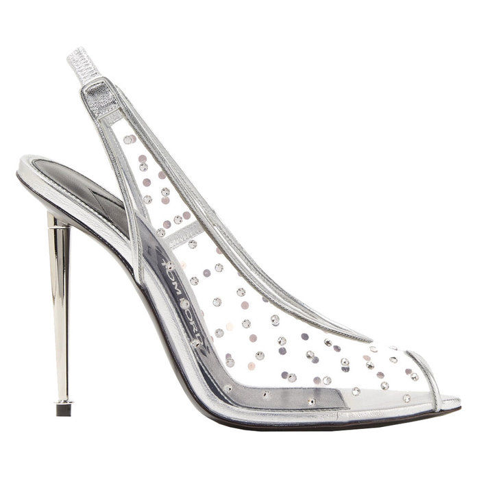 พีวีซี Crystal Embellished Slingbacks