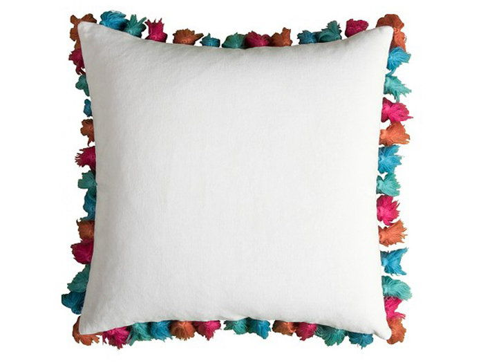 के लिये the Colorful Personality: Rizzy Home Frayed Pom Pom Pillow