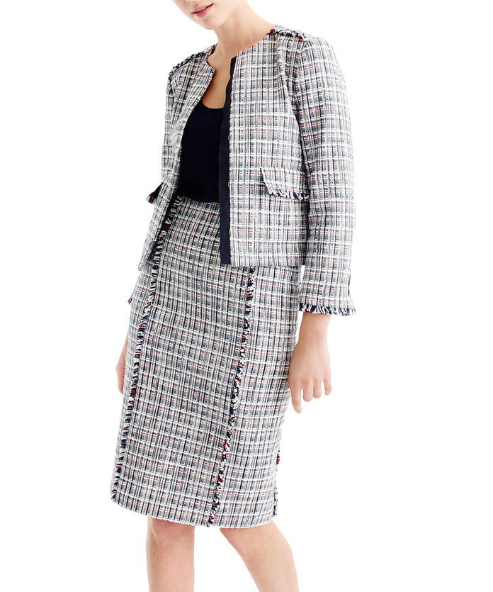 ए Pencil Skirt + Tweed = a Lady-Like Option.