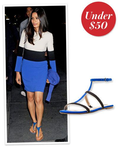 फ्रीडा Pinto's Electric Blue Sandals