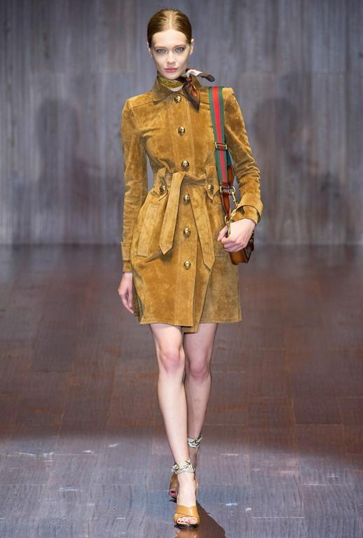 गुच्ची SS15 Suede Shirtdress
