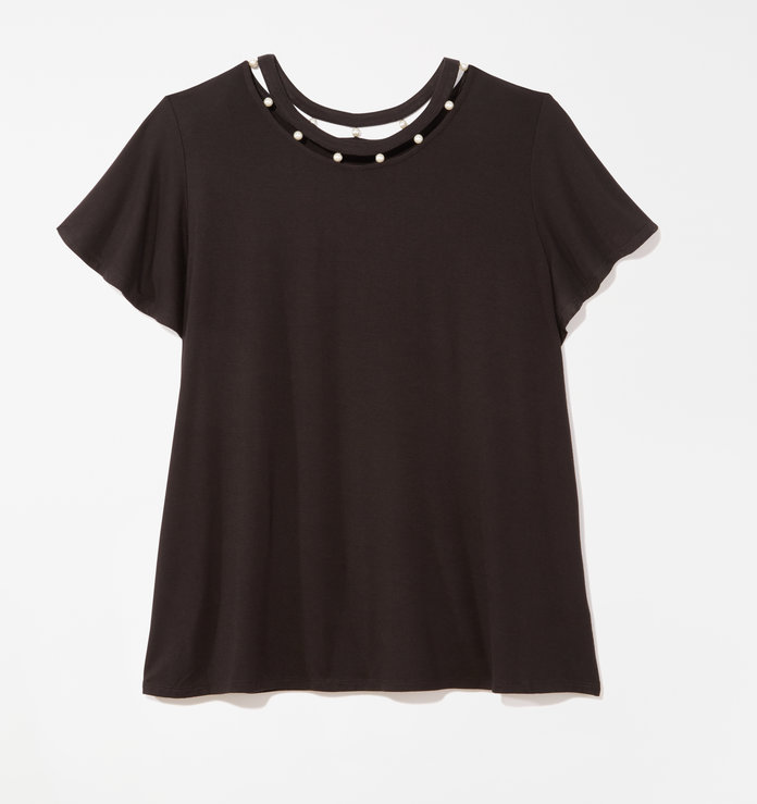 สีดำ embellished t-shirt