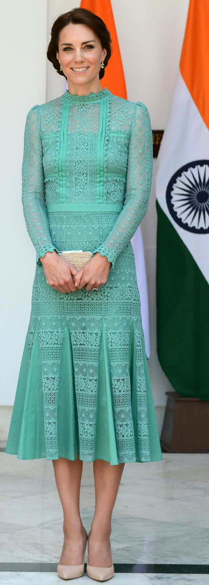 ब्रिटेन's Catherine, Duchess of Cambridge looks on ahead of a lunch event with India's Prime Minister Narendra Modi at Hyderabad House in New Delhi on April 12, 2016.