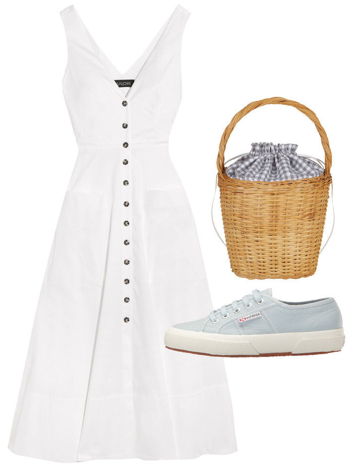sundress and sneakers fit for a picnic