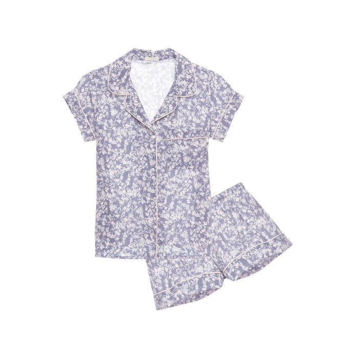 पुष्प Contrast-Trim Silk Pajama Set