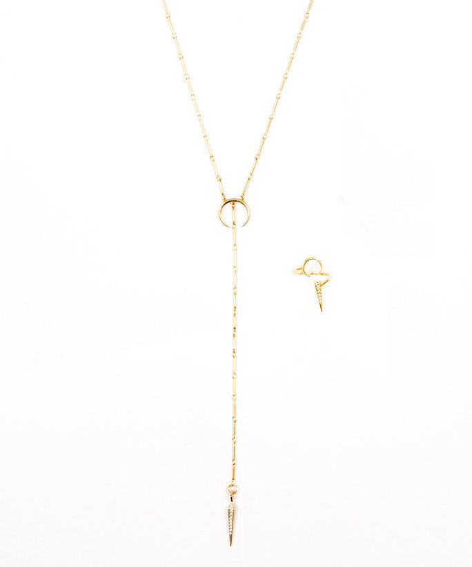 Luv AJ Pavé Tusk Lariat & Open Crescent Ring Exclusive Set