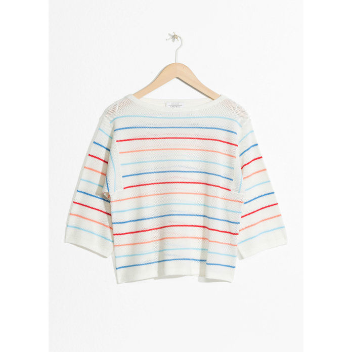नाव NECK STRIPED OVERSIZED TOP