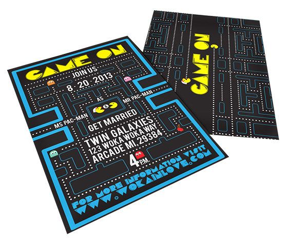 Pac-Man Inspired Wedding Invitations