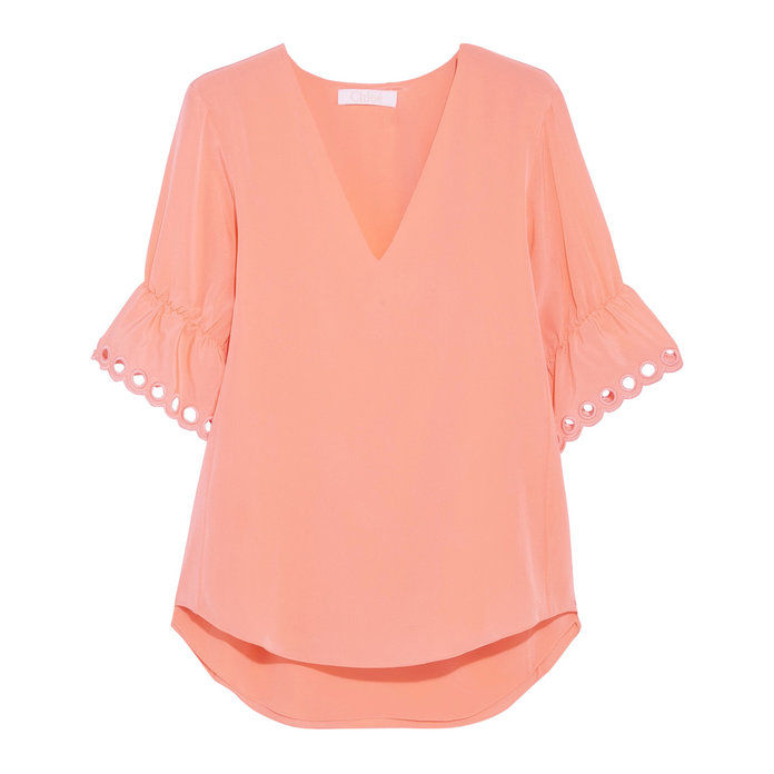 Chloe Embroidered silk crepe de chine top