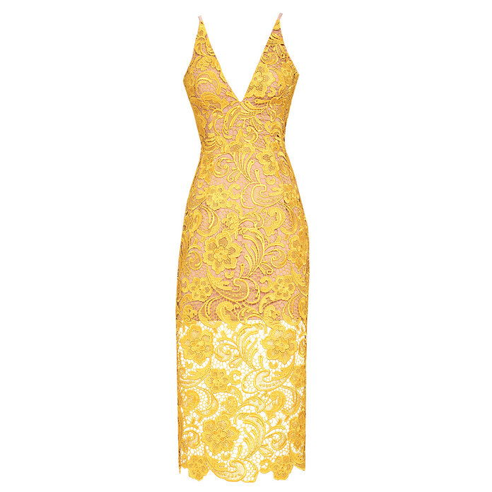 मैरी Yellow Lace Midi Dress
