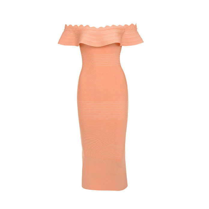 Amadea Light Orange Fluted Off Shoulder Dress