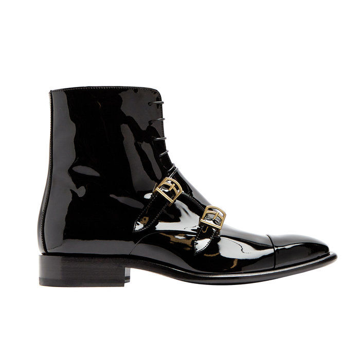 भिक्षु-पट्टा patent-leather ankle boots