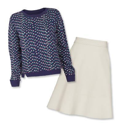बैंड of Outsiders sweater and Reiss skirt