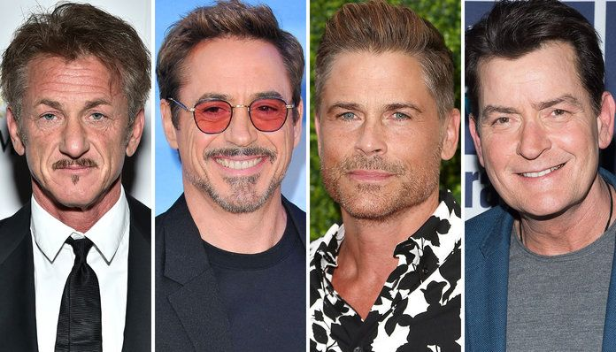 शॉन Penn, Robert Downey Jr., Rob Lowe, and Charlie Sheen