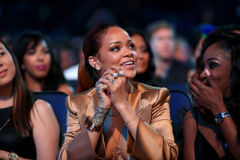 रिकॉर्डिंग artist Rihanna attends the 2015 BET Awards at the Microsoft Theater on June 28, 2015 in Los Angeles, California.
