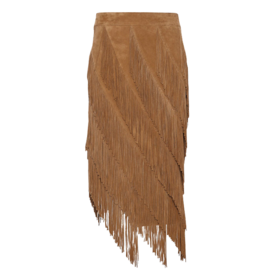 बकरा Suede Layered Fringe Skirt