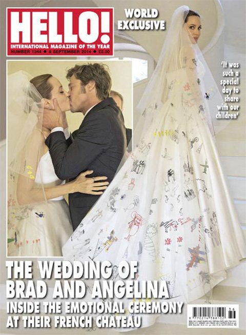 แองเจลิ Jolie Brad Pitt wedding Hello cover