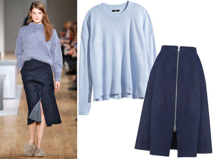 หลวม Knit + Denim Midi