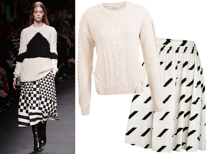 อ้วน Knit + Graphic Print Skirt