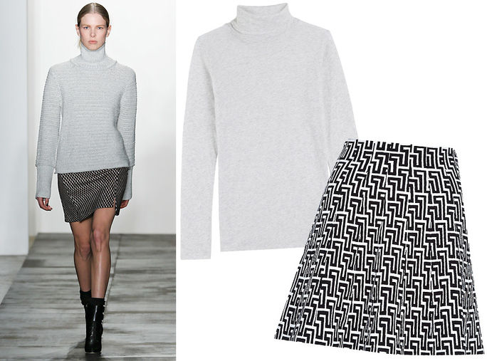 boxy Turtleneck + Printed Mini