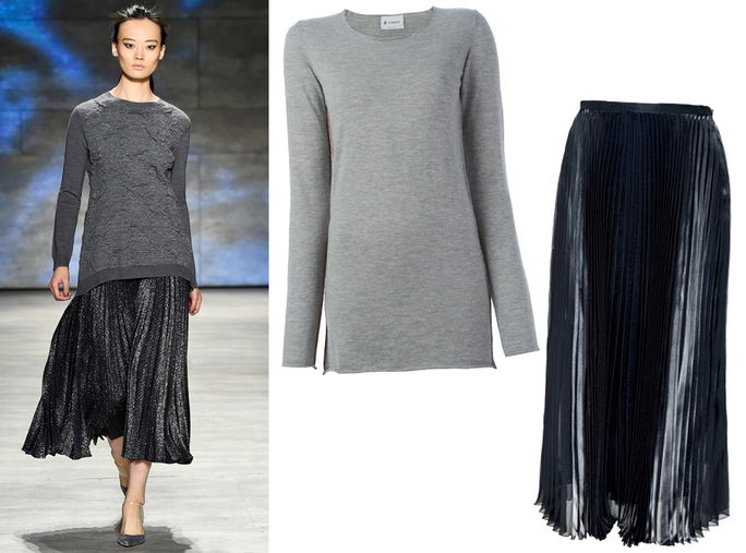 ยาว Sweater + Metallic Pleats