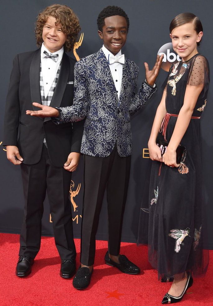 Gaten Matarazzo, from left, Caleb McLaughlin, and Millie Bobby Brown