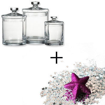 स्पष्ट Canisters - Glitter - Holiday Decorations