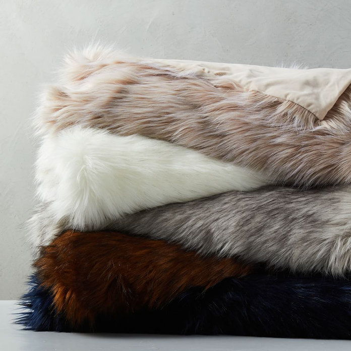 पश्चिम Elm FAUX FUR THROW BLANKETS