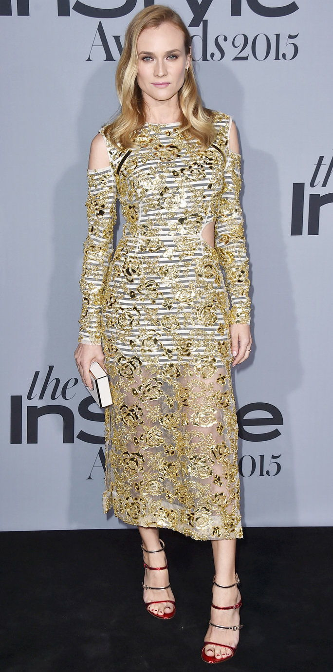 डायने Kruger arrives at the inaugural InStyle Awards at The Getty Center on Monday, Oct. 26, 2015, in Los Angeles. (Photo by Jordan Strauss/Invision/AP)