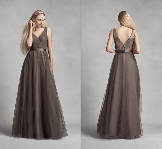 सफेद by Vera Wang Bridesmaid Dress