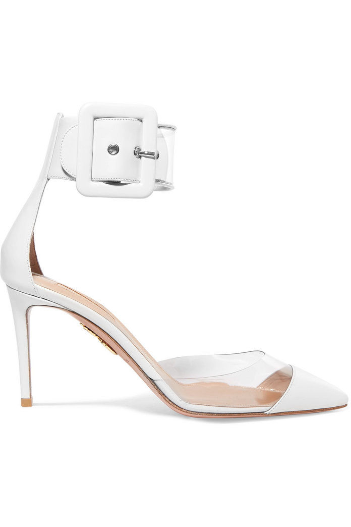 लालच PVC and Leather Pumps
