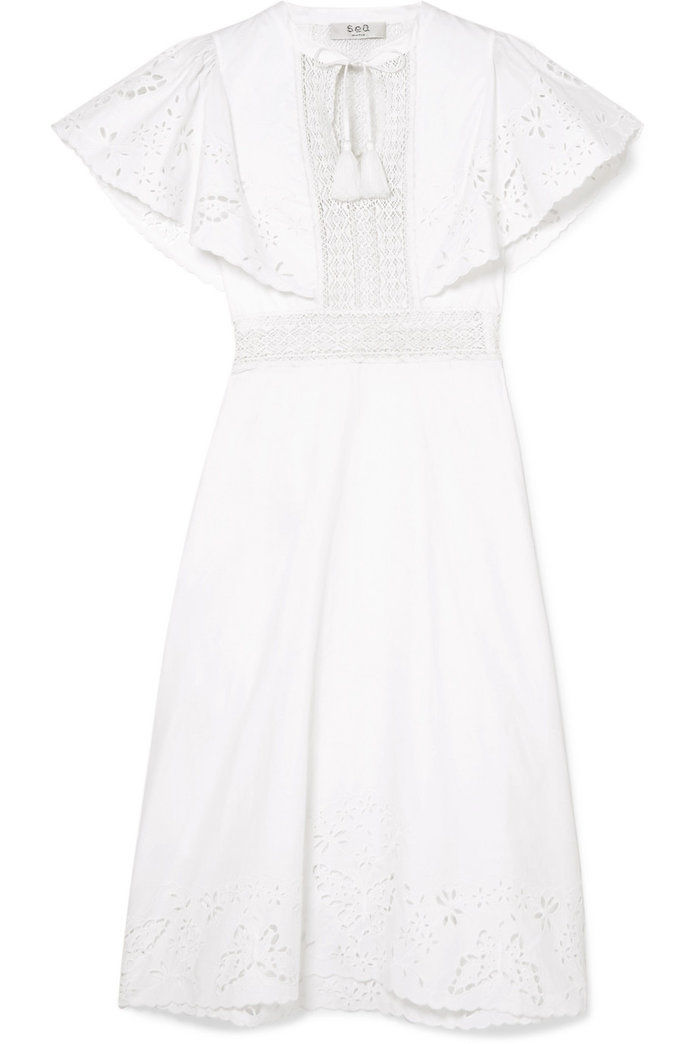 लेस-छंटनी broderie anglaise cotton midi dress