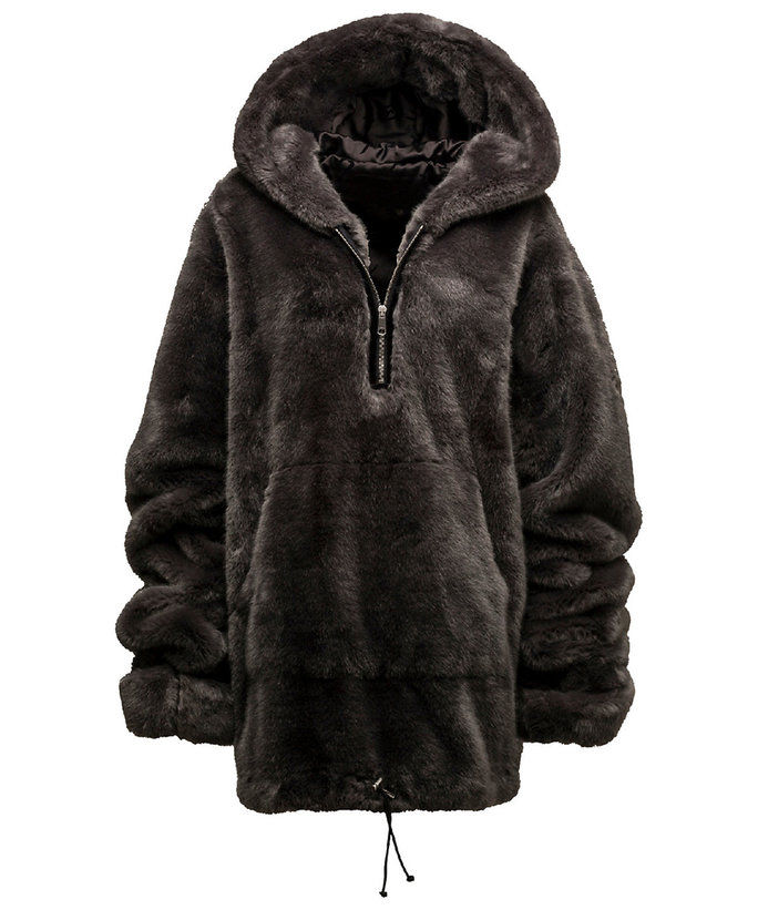 आधा पिन Pullover Faux Fur Hoodie