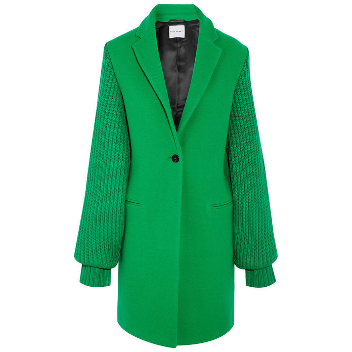 बूटेदार wool-blend green coat