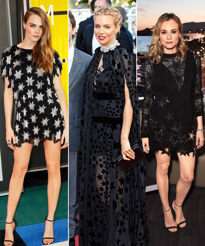 คาร่า Delevingne, Sienna Miller, Diane Kruger wearing the star dress trend