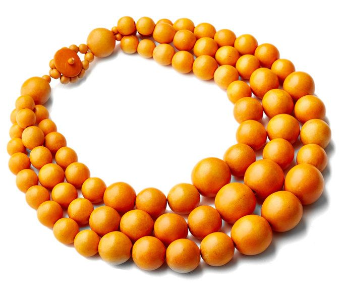 नारंगी Wood Bead Multi-Strand Necklace