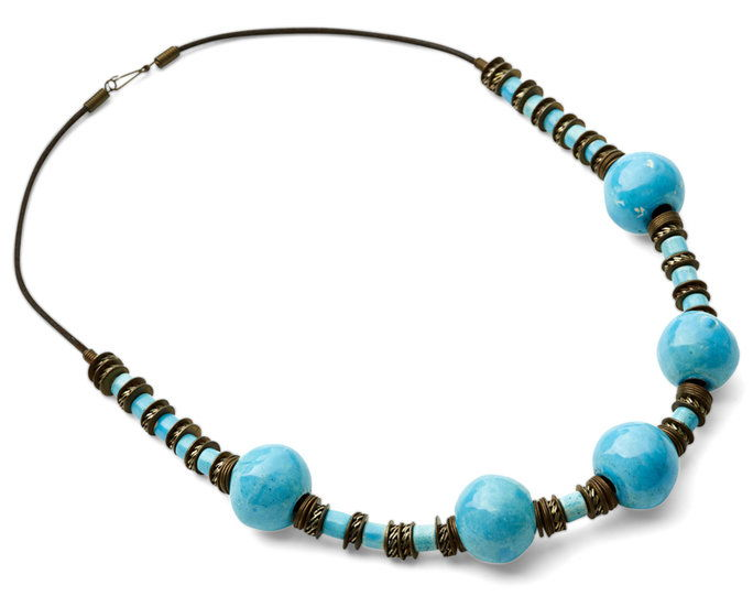 नीला and Metal Beaded Necklace