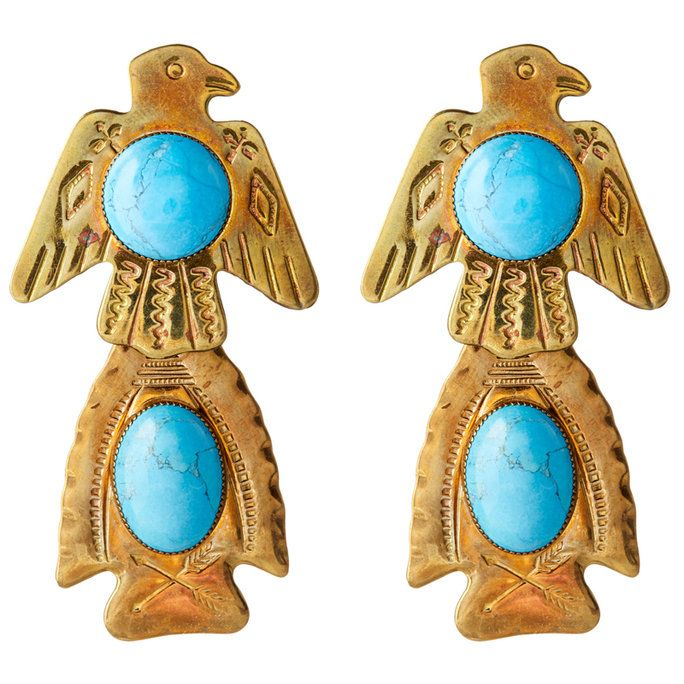 etched Eagle Earrings with Turquoise