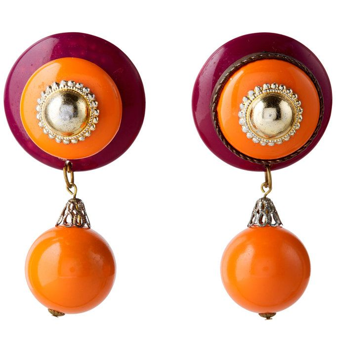 बैंगनी and Orange Button Drop Earrings