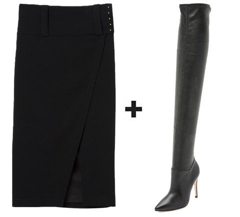 สูง Slit Skirt + Thigh-High Boots