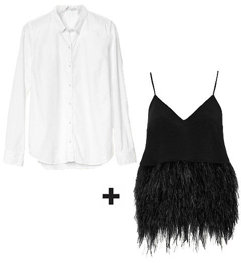 Button-Down Shirt + Feather Tank