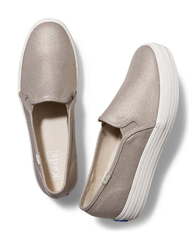 ट्रिपल DECKER METALLIC CANVAS Slip-on Sneakers