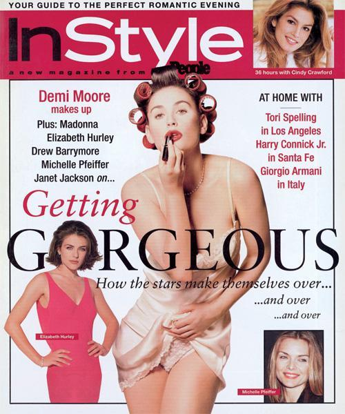 InStyle Covers - February 1996, Demi Moore, Elizabeth Hurley, and Michelle Pfeiffer